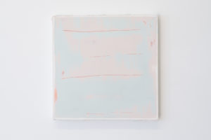 Timothy Chapman, Panel: red/pink/blue-1 (2015), Pine stretcher, canvas, polyester resin, polyester filler, 350 x 350 x 32mm