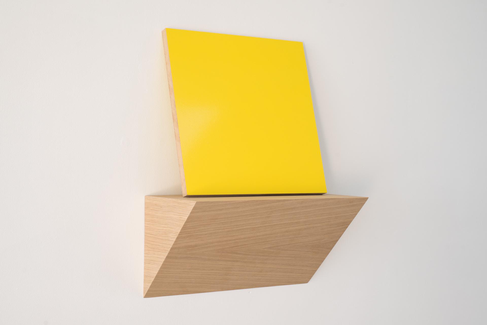 Matt Henry, Untitled A (2015), Urethane paint on MDF, oak veneer, plywood, 350 x 350mm